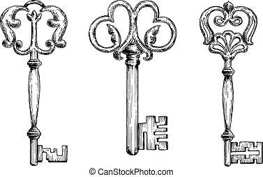 Three medieval vintage keys sketches