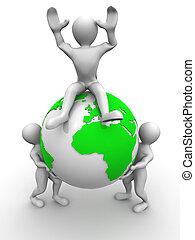 Three men and Earth
