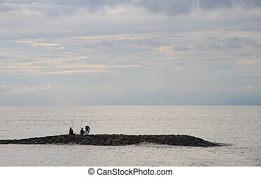 three men are fishing, Bali