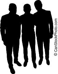 three men body silhouette