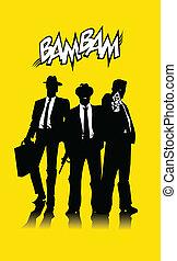 three men in black
