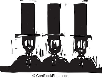 Three men in Top Hats - Head and shoulders of three man in...
