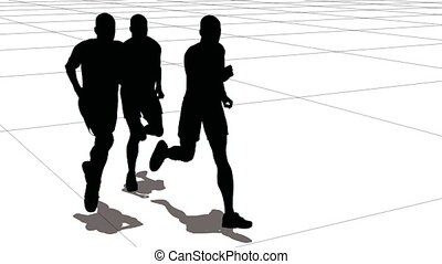Three men of the sportsman run on a large grid. Black on white.