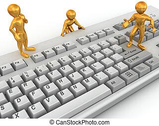 Three men on keyboard. 3d
