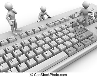 Three men on keyboard