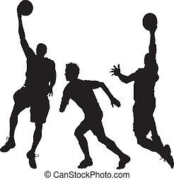 three men playing basketball