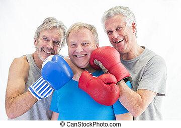 Three men posing in boxing gloves - Three senior men posing ...
