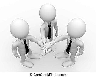 Three men shaking hands facing up