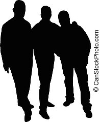 three men silhouette vector