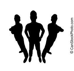 three men silhouette wide angle