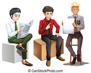 Three men sitting down while reading, talking and holding an emp