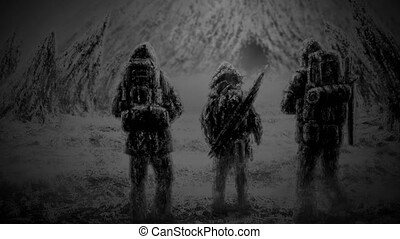 Three men stands at the entrance to the cave. Drawing...