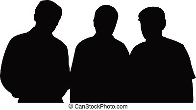 three men together, silhouette