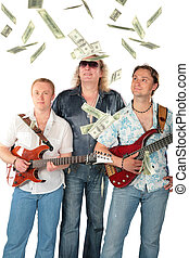 Three  men with two guitars and falling dollars. Music group.