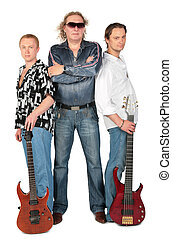 Three men with two guitars. music group, full body.