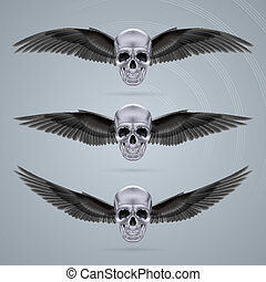 Three metal chrome skulls with two wings