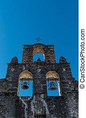 Three Mission Bells on Blue Sky
