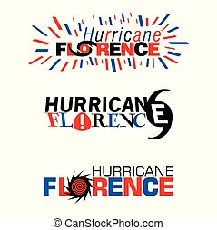 Three mnemonics on Hurricane Florence in red and blue...