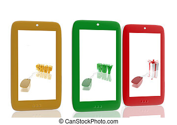 Three mobile phones with e-commerce images