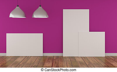 Three Mock up poster in a pink room
