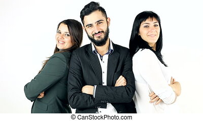 Three models posing business
