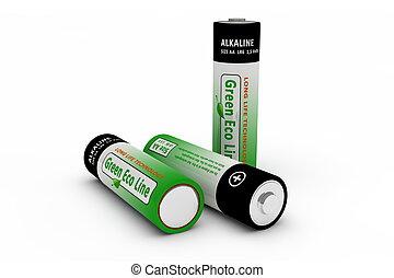 Three Modern Eco Batteries on White