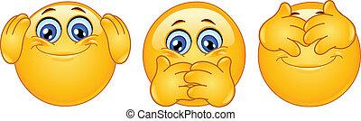Emoticon posing like ?three monkeys?