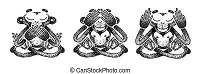 Three monkeys. See no Evil, Hear no Evil, Speak no Evil. monkey closed its mouth, eyes, ears. Black and white handmade vector illustration.