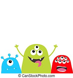Three monster silhouette set. Head face. Cute cartoon scary character. Baby collection. Eyes, tongue, horns. Happy Halloween. White background. Isolated. Flat design.