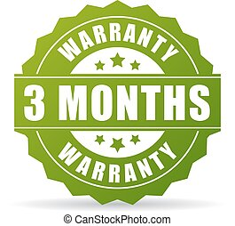 Three months warranty vector icon isolated on white...