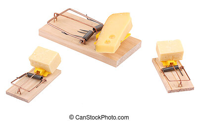 Three mouse traps with cheese on a white background