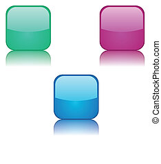 Three multi-colored buttons