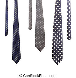 Three multi-colored ties. Isolated on a white background.