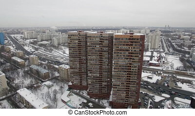 Three multi storey residential buildings in winter...