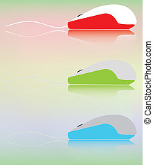 Three multicolored computer mice