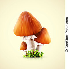 Three mushrooms - Three edible mushroom, eps 10
