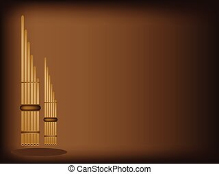Three Musical Pan Flute on Dark Brown Background