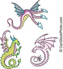 three mythic dragons