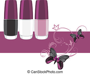 Three nail polish. Banner for design. Vector illustration