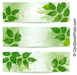 Three nature background with green spring leaves. Vector...