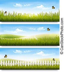 Three nature summer meadow landscape banners with grass and butterflies. Vector.
