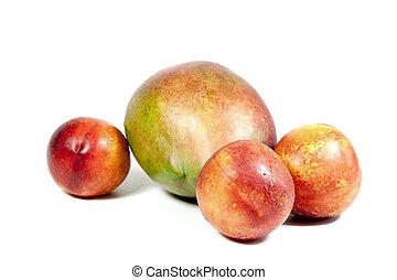 Three Nectarines And Ripe Tropical Mango On White