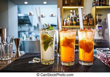 Three non-alcoholic cocktails