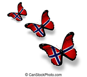 Three Norwegian flag butterflies, isolated on white