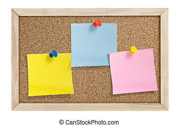 Three notes in cork board - Tree notes with pushpins on cork...