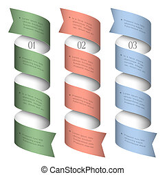 Three numbered ribbons-banners