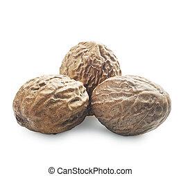 nutmeg  - Three nutmeg on a white background