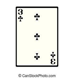 three of club card icon, flat design