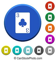 Three of clubs card beveled buttons
