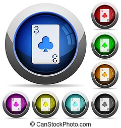 Three of clubs round glossy buttons